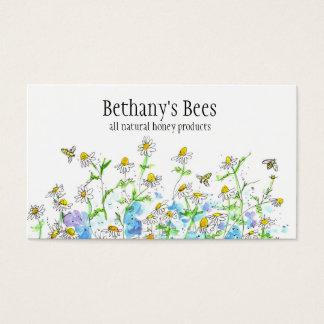 蜂蜜の蜂の名刺のChamomileによってはスケッチが開花します 名刺
