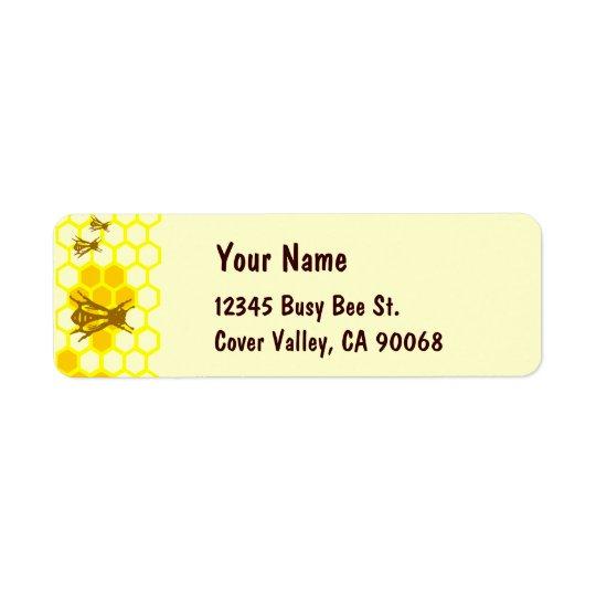 蜂蜜の蜂の蜜蜂の巣のカスタムの宛名ラベル 返信用宛名ラベル