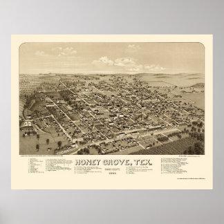 蜂蜜果樹園、TXのパノラマ式の地図- 1886年 ポスター