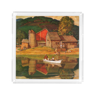 蜂蜜酒Schaefferによる農場の池の景色 アクリルトレー