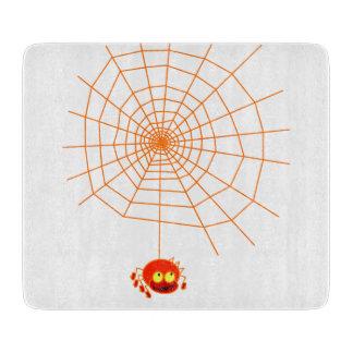 蜘蛛の巣のハロウィンのガラスまな板 カッティングボード