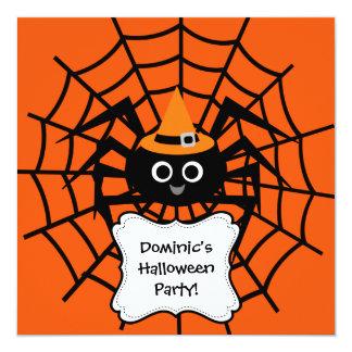 蜘蛛の巣のハローウィンパーティの招待状 13.3 スクエアインビテーションカード