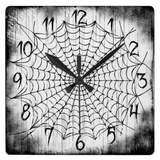 蜘蛛の巣の柱時計 スクエア壁時計