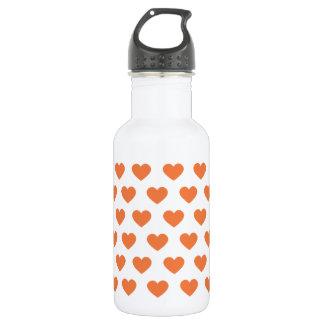 蜜柑のオレンジ水玉模様のハート ウォーターボトル