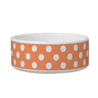 蜜柑のオレンジ水玉模様の円 猫用ごはん皿