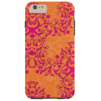 蜜柑のタンゴの花のピンクおよびオレンジiPhone 6カリフォルニア Tough iPhone 6 Plus ケース