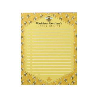蜜蜂の蜜蜂の巣ののまわりにの蜂蜜はカスタムをリストします ノートパッド