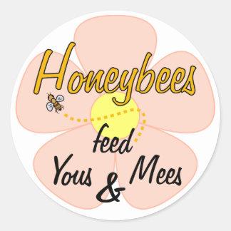 蜜蜂はYous及びMees (ピンク) -ステッカーを食べ物を与えます ラウンドシール