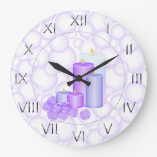 蝋燭および泡浴室 ラージ壁時計