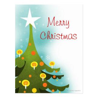 蝋燭および球と飾られるクリスマスツリー ポストカード