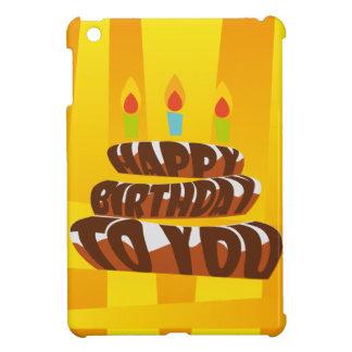 蝋燭が付いているイラストレーションのハッピーバースデーのケーキ iPad MINI CASE