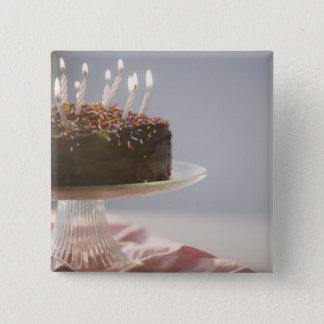 蝋燭が付いているチョコレートお誕生日ケーキの閉めて下さい 5.1CM 正方形バッジ