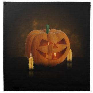 蝋燭が付いているハロウィンのカボチャ-布のナプキン ナプキン