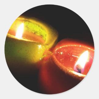 蝋燭のステッカー ラウンドシール