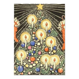 蝋燭の招待状が付いているヴィンテージのクリスマスツリー カード