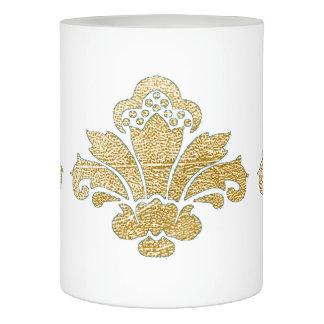 蝋燭の模造のな金ゴールドのダマスク織TEAL/Whiteを結婚するLED LEDキャンドル