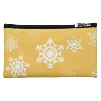 蝋燭の白熱黄色および白い雪突風 コスメティックバッグ