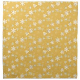 蝋燭の白熱黄色および白い雪突風 ナプキンクロス