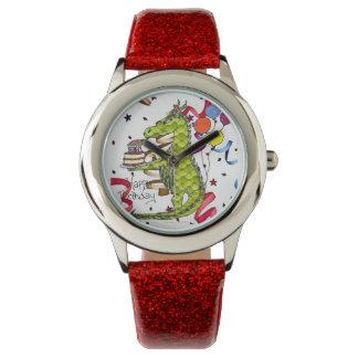 蝋燭の腕時計をつけるハッピーバースデーのドラゴン 腕時計
