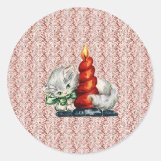 蝋燭を持つヴィンテージの子ネコ ラウンドシール