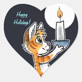 蝋燭を持つ休日猫 ハート型シール