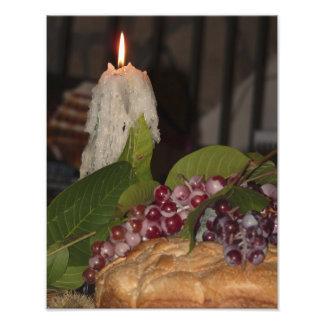 蝋燭及びブドウのOrvietoの写真のプリント文字無し フォトプリント