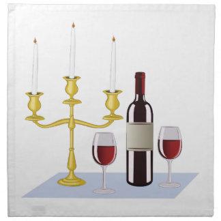 蝋燭及びワイン ナプキンクロス