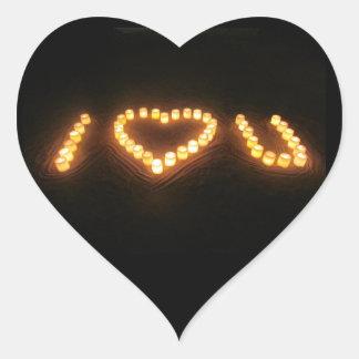 蝋燭愛ハート ハート形シール・ステッカー
