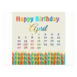 蝋燭4月21日、カラフルな誕生日のの誕生日 ポストカード