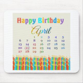 蝋燭4月21日、カラフルな誕生日のの誕生日 マウスパッド