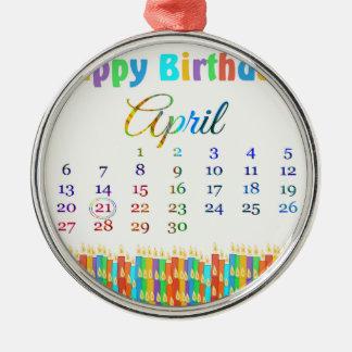蝋燭4月21日、カラフルな誕生日のの誕生日 メタルオーナメント