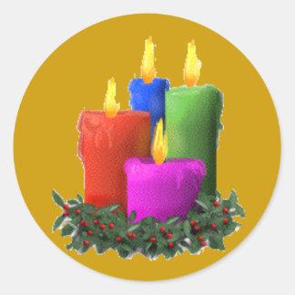 蝋燭 丸形シール・ステッカー