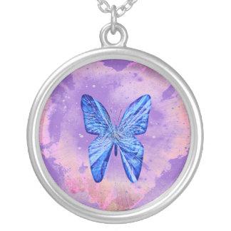 蝶おもしろい シルバープレートネックレス