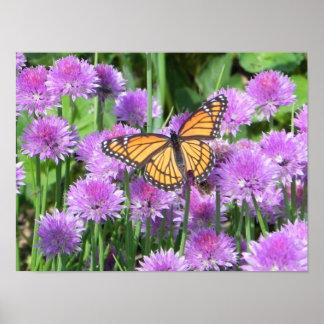 蝶およびアサツキ ポスター