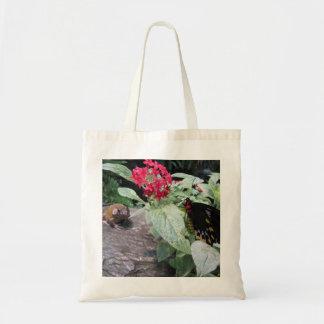 蝶およびカエルのバッグ トートバッグ