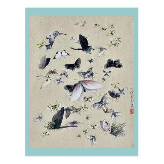 蝶およびガの浮世絵 ポストカード