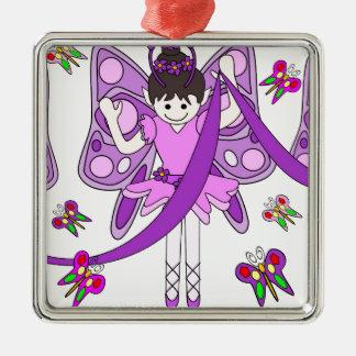 蝶およびバレリーナ メタルオーナメント