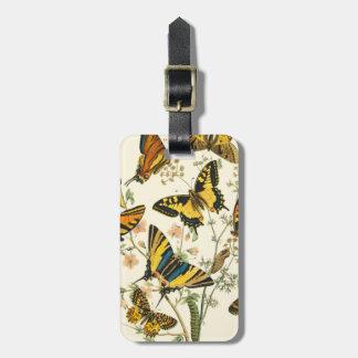 蝶および幼虫のカラフルな収集 ラゲッジタグ