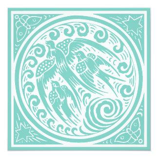 蝶および星を持つヴィンテージの鳥 13.3 スクエアインビテーションカード