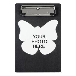 蝶および正方形の黒は写真フレームを加えます ミニクリップボード