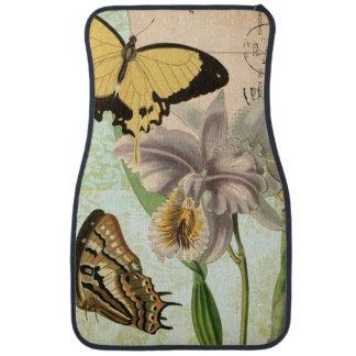 蝶および花が付いているヴィンテージの郵便はがき カーマット