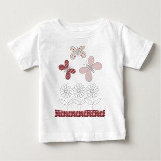 蝶および花の引くこと ベビーTシャツ