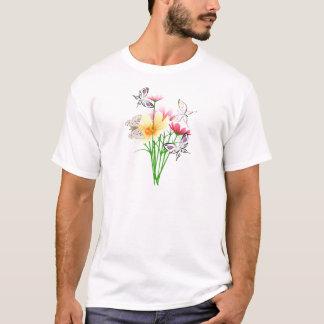 蝶および花の服装 Tシャツ