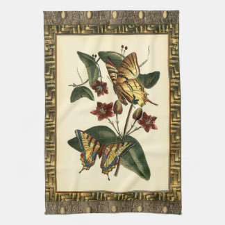 蝶および花の組み立てられた絵画 キッチンタオル