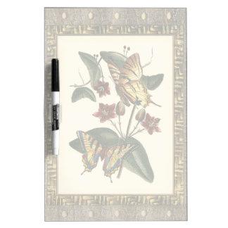 蝶および花の組み立てられた絵画 ホワイトボード
