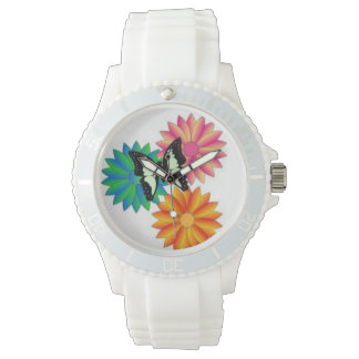 蝶および花の腕時計 腕時計