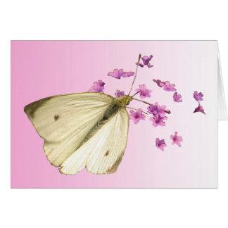 蝶および花の誕生日 カード