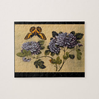 蝶およびDahlias',の未知のartist_The東洋 ジグソーパズル