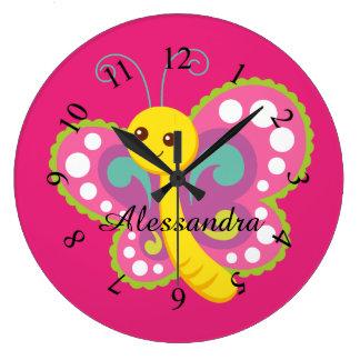 蝶かわいい動物の子供部屋のベビーは部屋をからかいます ラージ壁時計
