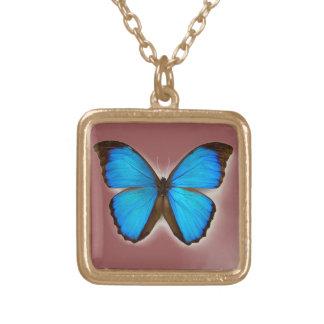 蝶が付いているかわいい金ゴールドの終わりの正方形のネックレス ゴールドプレートネックレス